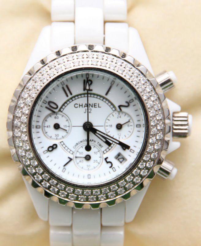 Женские часы Chanel с кристаллами, Hi-Tech керамика, хронометр, нецарапающееся сапфировое стекло
