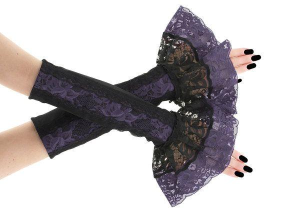 Purple long fingerless gloves arm warmers by FashionForWomen