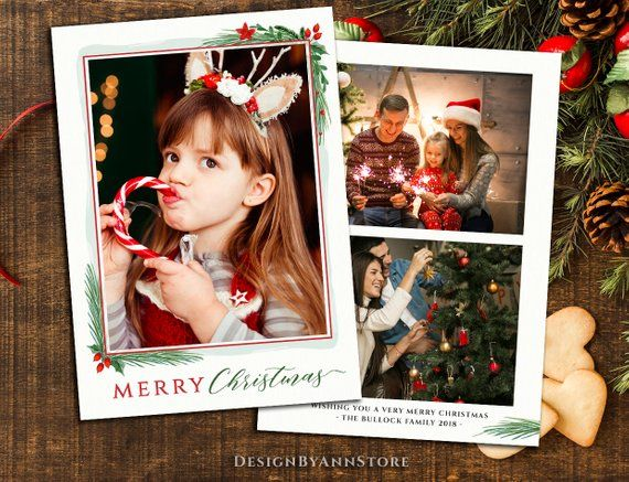 Photoshop Holiday Card Template Christmas Card Template Etsy Christmas Card Template Watercolor Christmas Cards Holiday Card Template