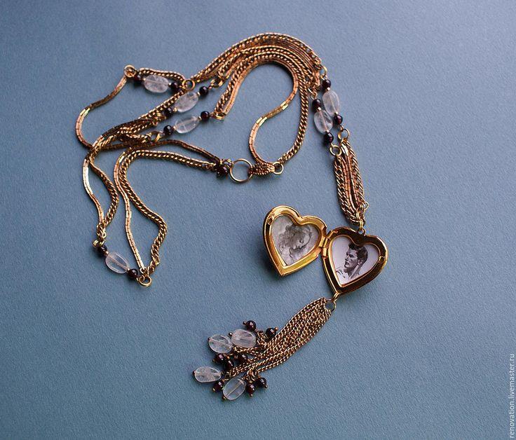 Купить длинное ожерелье-цепочка с подвеской-медальоном - розовый, локет, сердце…