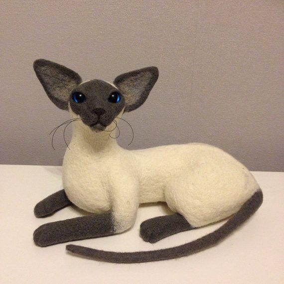 Nadel Filz 100 % Wolle. Siamesische Katze von coalla auf Etsy