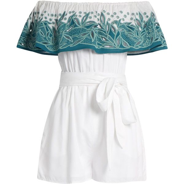 Mara Hoffman Leaf-embroidered off-the-shoulder playsuit ($295) ❤ liked on Polyvore featuring jumpsuits, rompers, jumpsuit, romper, green white, white cut out jumpsuit, cut-out jumpsuits, green jumpsuit, white cutout jumpsuit and off the shoulder romper