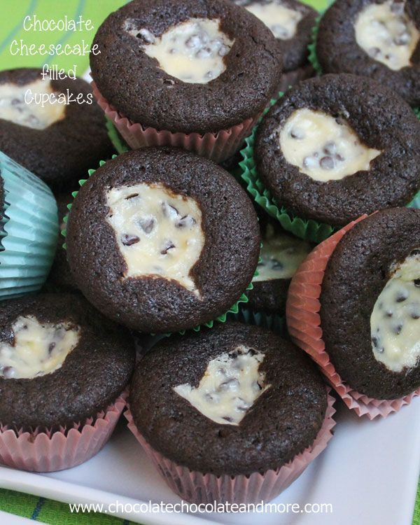 Chocolate Cheesecake filled Cupcakes-the best of both chocolate cake and cheesecake, and so easy to make!
