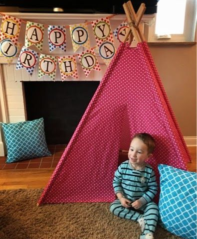 "Tutorial: How to Make a TeePee          Tutorial     1. Pick out your fabric and get 4 wooden poles.  I purchased 6 yds and 8"" from JoAnn f..."