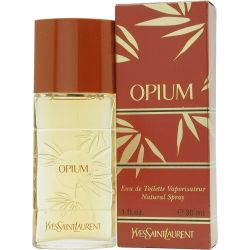 Opium by Yves Saint Laurent. My first expensive perfume. Introduced in 1977. Top notes = mandarin orange, plum, clove, coriander, pepper, bay leaf. Middle notes = jasmine, rose, lily of the Valley, carnation, cinnamon, peach, orris root. Bottom notes = sandalwood, cedarwood, myrrh, opopanax, labdanum, benzoin, castoreum, amber, incense, musk, patchouli, tolu, vetiver.
