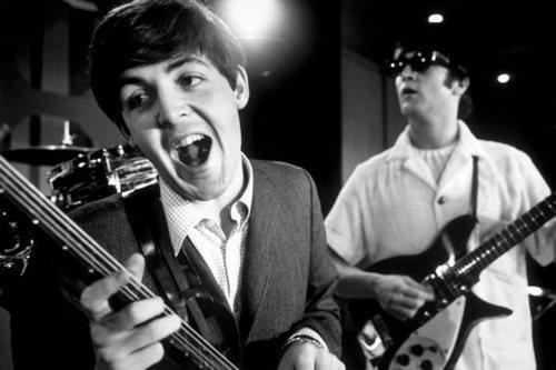 Paul McCartney and John Lennon rehearsing for The Beatles' 1964 American tour.