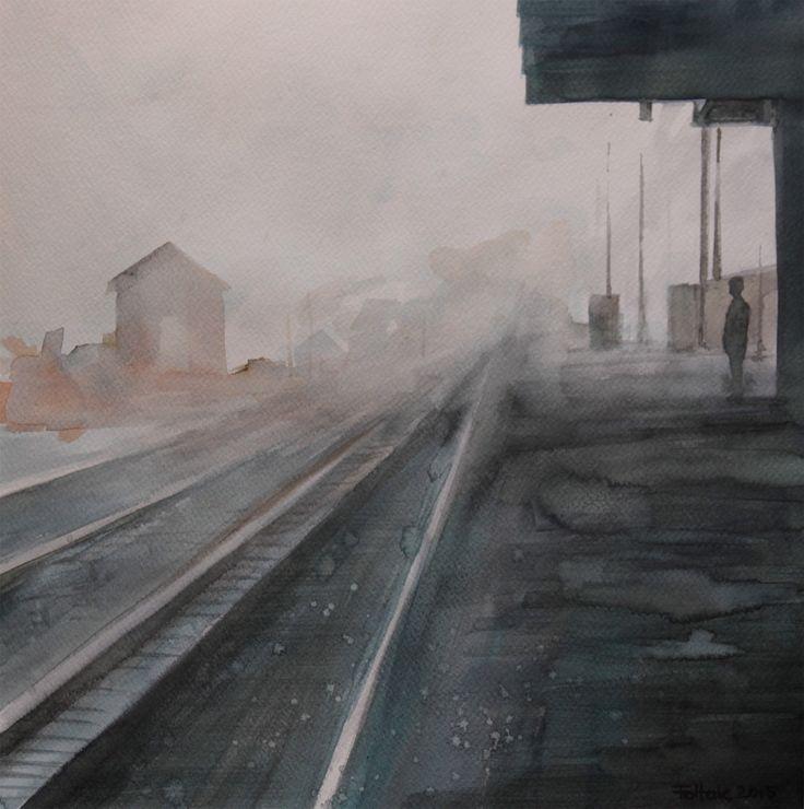 Train platform in Augustów, watercolor, 40x40 cm