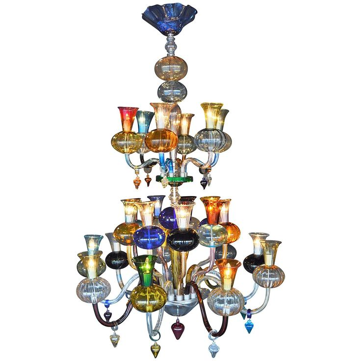 Multicolored Hand N Glass Chandelier From A Unique Collection Of Antique And Modern Chandeliers