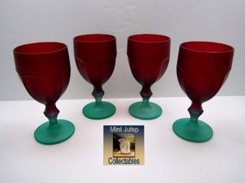 Vintage-Frosted-Red-Green-Satin-Finish-Knob-Stem-Goblets-Glasses-Set-Of-4