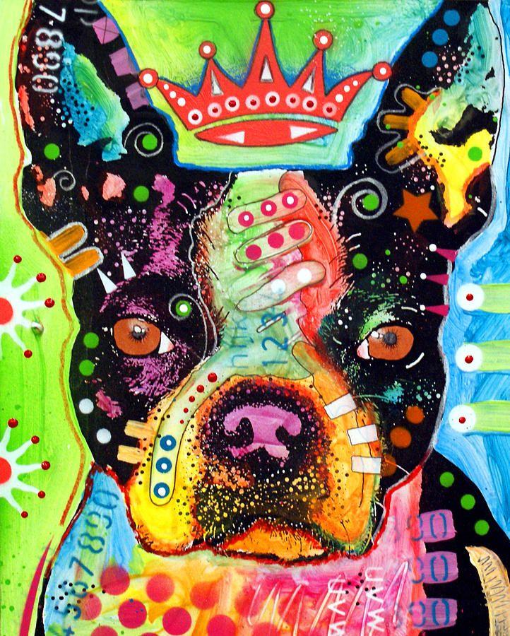 Boston Terrier Crowned Painting  - Boston Terrier Crowned Fine Art Print by Dean Russo
