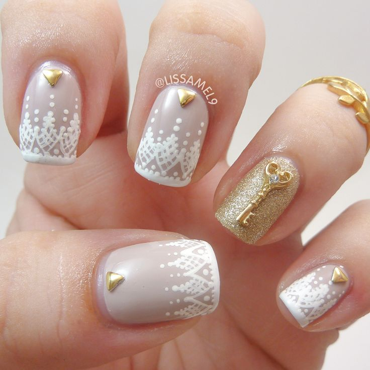 Antique Lace Wedding Nails. Freehand painted. Perfect for a vintage wedding feel!