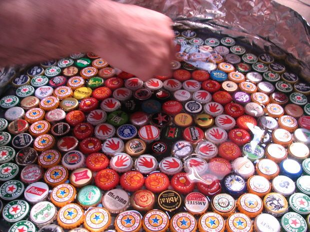 Bottle Cap Table With Poured Resin Surface Table Top