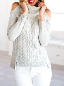 Open Shoulder Sweater Fall Winter Fashion Sweater. Best minimalist outfit with white jeans and comfy open shoulder sweater.