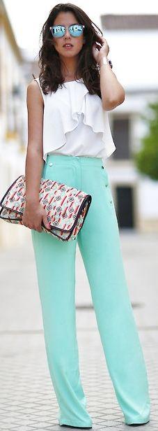 Love the high waist pants #Summer #WorkOutfit