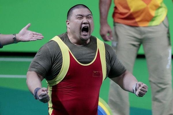 Dong Qi of China reacts during the Powerlifting - Men's -97kg Group A Final at Riocentro Pavillon 2 on Day 6 of the Rio 2016 Paralympic Games on September 13, 2016 in Rio de Janeiro, Brazil.