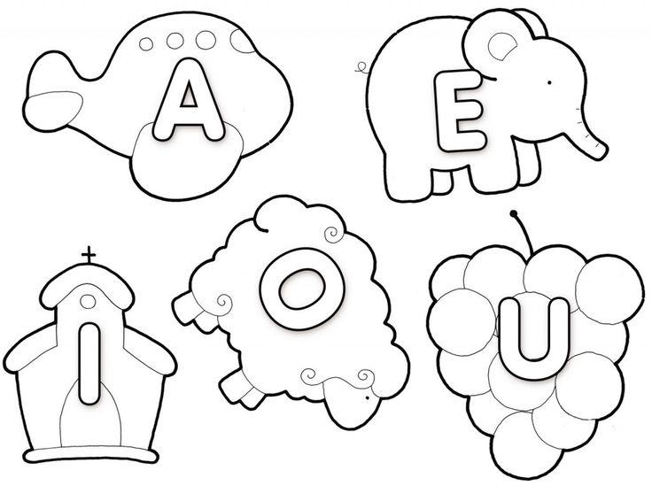Moldes de vogais para montar painel ou para enfeitar a sala de aula. Fica legal se fizer com EVA.