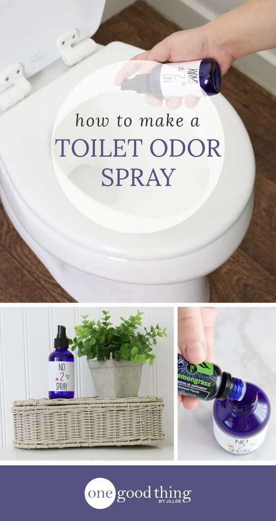 """Learn how to make your own toilet odor spray (a la """"Poo-pourri""""). The all-natural formula is powered by essential oils. Odor be gone!"""