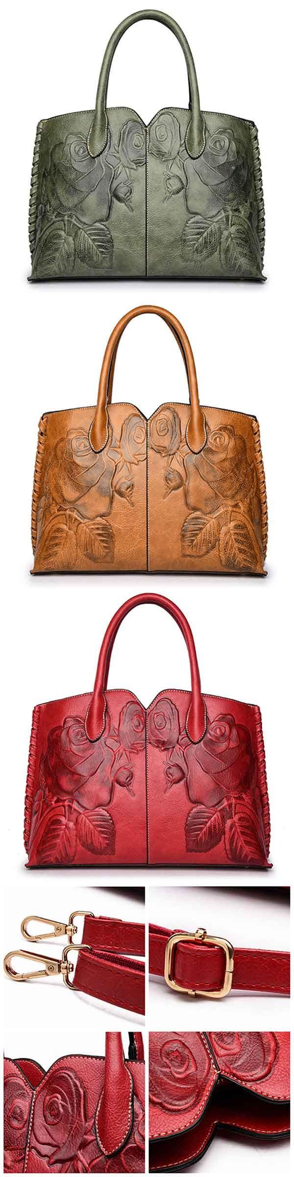 Women Retro PU Leather Handbag Embossed Peony Chin…