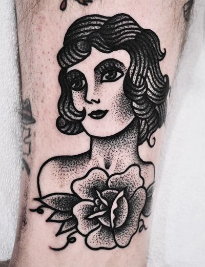 i LOVE stippling girl heads. actually i love stippling any traditional imagery. email me for appointments! mikeadamstattoo@gmail.com  thanks - Mike Adams TTW NYC