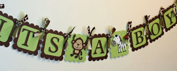 Green and Brown Jungle Safari Animal It's A Boy Banner, Jungle Baby
