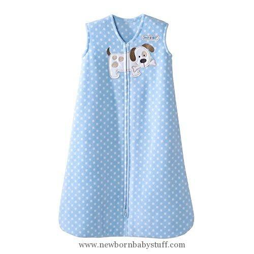 Baby Girl Clothes Halo Blue Dot Puppy SleepSack Wearable Baby Blanket, Micro-Fleece, Medium