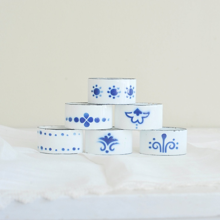 Vintage White and Blue Scandinavian Enamel Napkin Rings