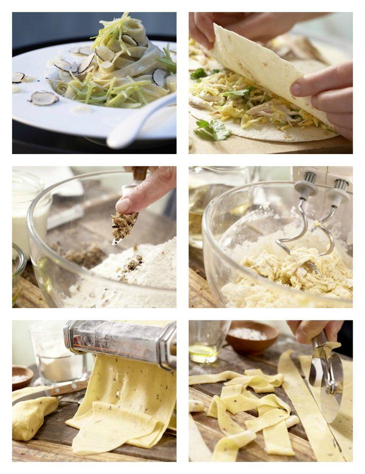Trüffel klein hacken und mit Mehl vermengen. Eier, Olivenöl, Salz und Wasser dazu geben und die Zutaten verkneten: Hausgemachte Trüffel-Pasta mit feiner Lauchsauce | http://eatsmarter.de/rezepte/hausgemachte-trueffel-pasta
