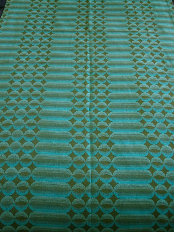 Vintage Mid Century High End Wool Drapery Fabric - 2 Large Panels - Teal/Olive Green - Xlnt.. $156.00, via Etsy.