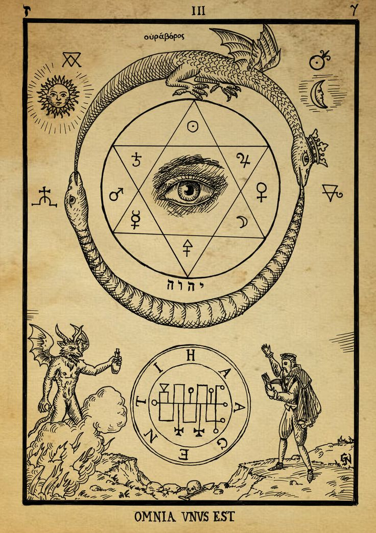 Alchemy: Omnia Vnvs Est. The serpent/bird circle is a recurring motif in magical alchemy. This is a nice print.