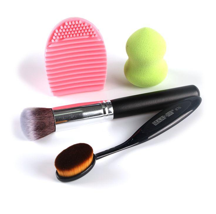 ラウンドトップパウダーファンデーションメイクブラシ+歯ブラシオーバル化粧ブラシ+化粧ブラシクリーナー+化粧スポンジmaquiagem