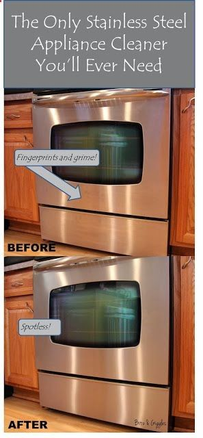 The Only Stainless Steel Appliance Cleaner Youll Ever Need: Use a little dab of olive oil on some paper toweling to make your stainless steel appliances shine like brand new! Say goodbye to streaks, fingerprints and your commercial cleaners for good! #stainless, #cleaner, #kitchen