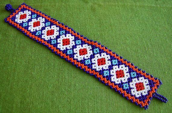 Mexican Huichol peyote flower bracelet