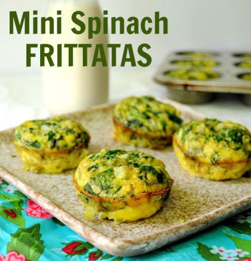 After-School Snack Recipe: Mini Spinach Frittatas - Bake these Mini Spinach Frittatas in advance for an easy protein-packed after-school snack to enjoy throughout the week.  - See more at: http://fitfluential.com/2014/09/after-school-snack-recipe-mini-spinach-frittatas/#sthash.ueLkCa7Z.dpuf
