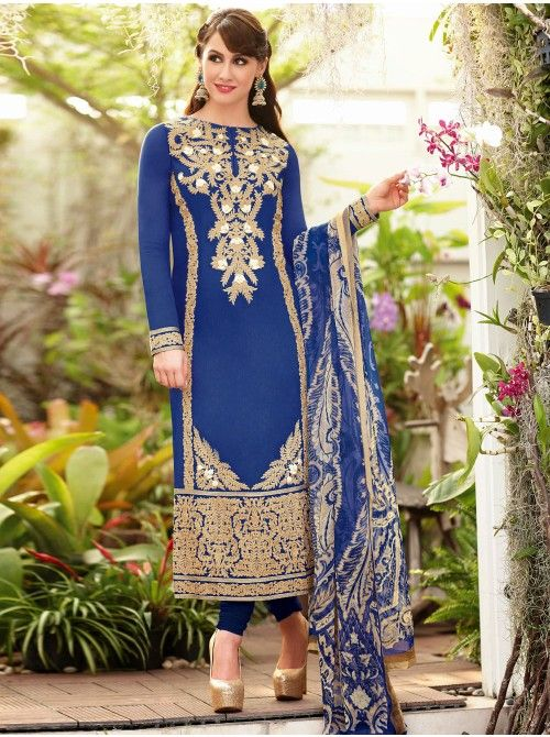 Blue Lawn Cotton Suit With Resham Embroidery Work