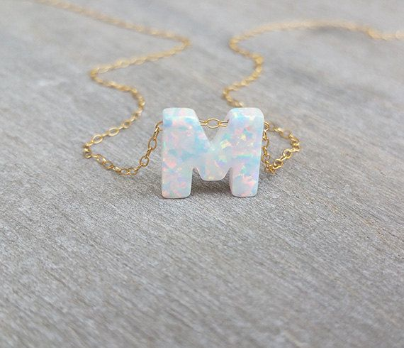 Gold letter necklace Mothers necklace Initial by HLcollection