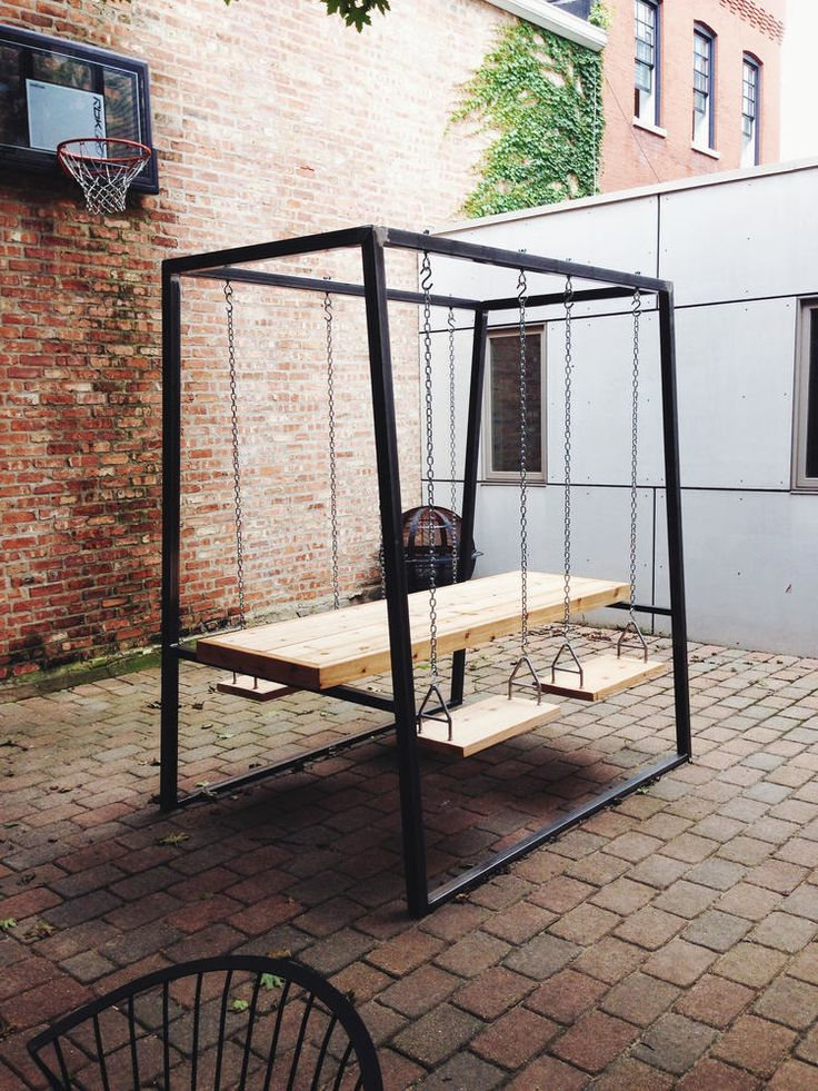 Custom Outdoor Table With Swing Seats. Steel Tube Frame With Cedar Top And  Seats.