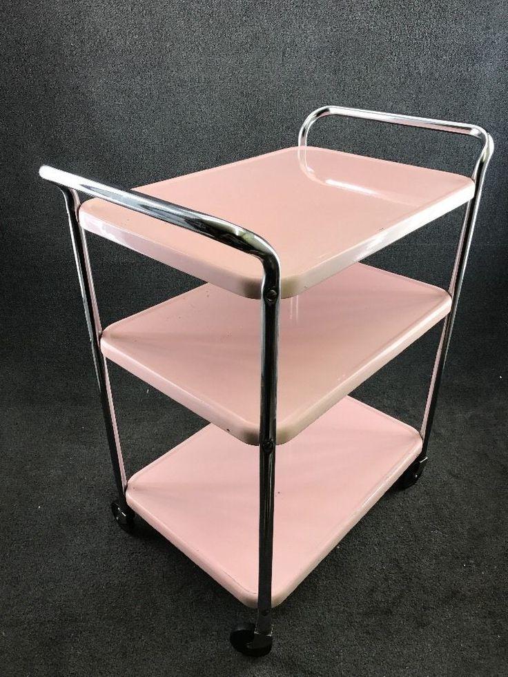 Mid Century Modern COSCO Pink & Chrome 3 Tier Metal Tea Bar Utility Cart
