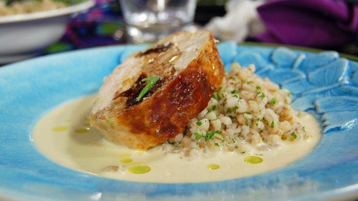 Hel, utbeinet kylling fylt med gresskar.