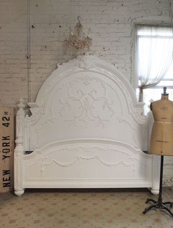 Painted Cottage Chic Shabby Romantic Bed Queen by paintedcottages