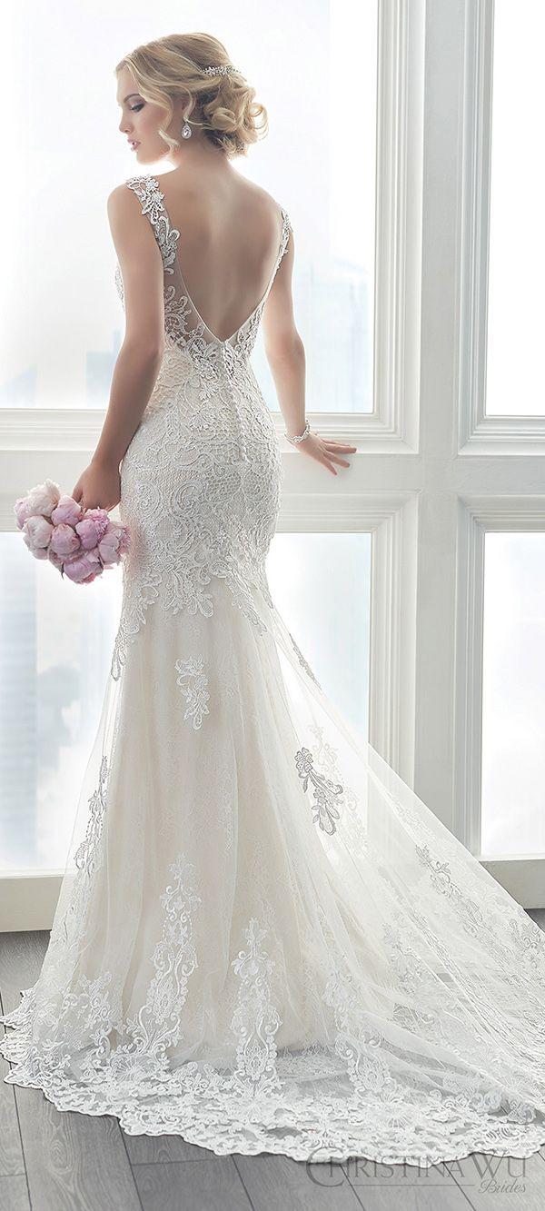 elegant romantic open back lace wedding dresses Christina Wu 2017