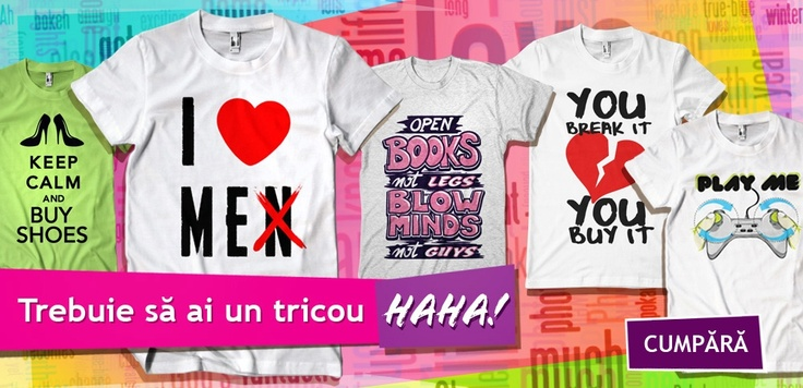 Tu cu ce tricou HAHA faci KO bărbaţii?    Ţi-l cumperi de pe http://www.tinar.ro/colectii/haha.html ;) A se purta orice achiziţie cu super curaj şi nonşalanţă!