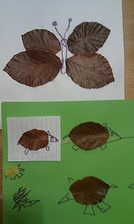Inspired by a disney craft idea- Autumn leaf animals made by my kids!