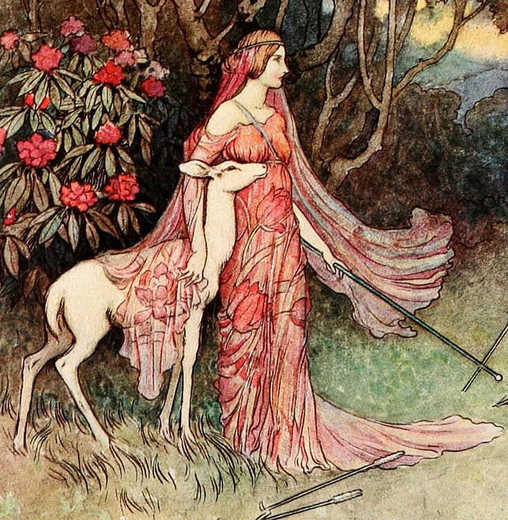 """'The Hind of the Forest' (detail) from """"The Fairy Book"""" (1913) illustrated by Warwick Goble"""