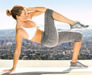 Bridge and scissor crunch. Works back, legs, butt, arms and abs. 5 reps each side. 3 sets. @Dorane Crawford