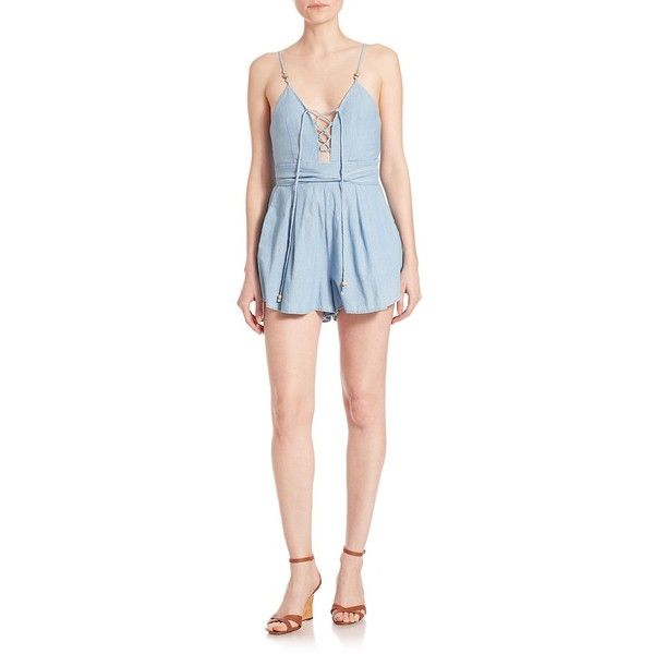 Bec & Bridge Talisman Denim Romper (329 CAD) ❤ liked on Polyvore featuring jumpsuits, rompers, apparel & accessories, bleached, denim rompers, sleeveless rompers, v neck romper, denim romper and wrap romper