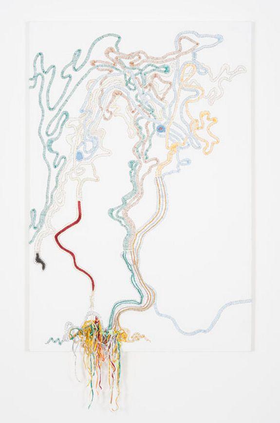 Nicholas Hlobo, Balindile I, 2012, Rubber inner tubes, steel, hosepipes and ribbon, Dimensions variable, Tate Modern, London