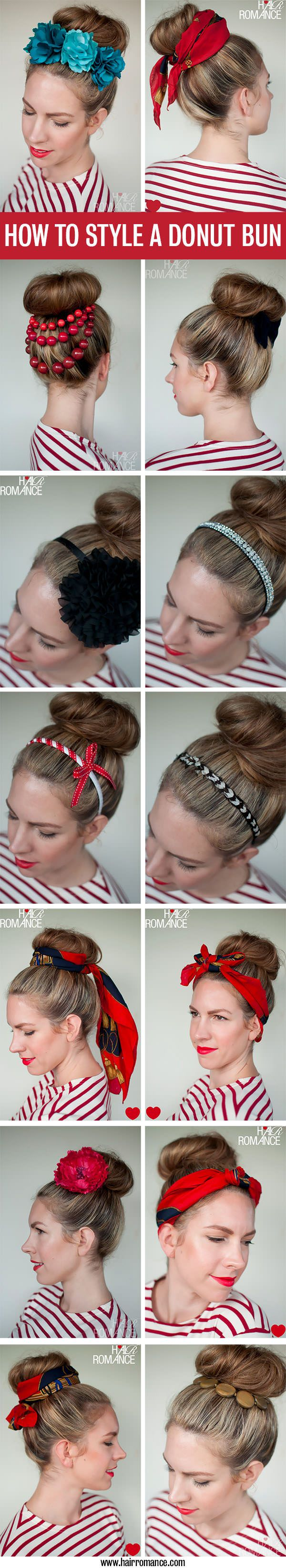 Hairstyle | 15 Ways to Accessorize a Donut Bun