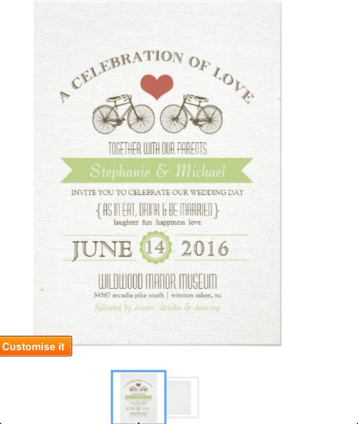 Bike themed invites