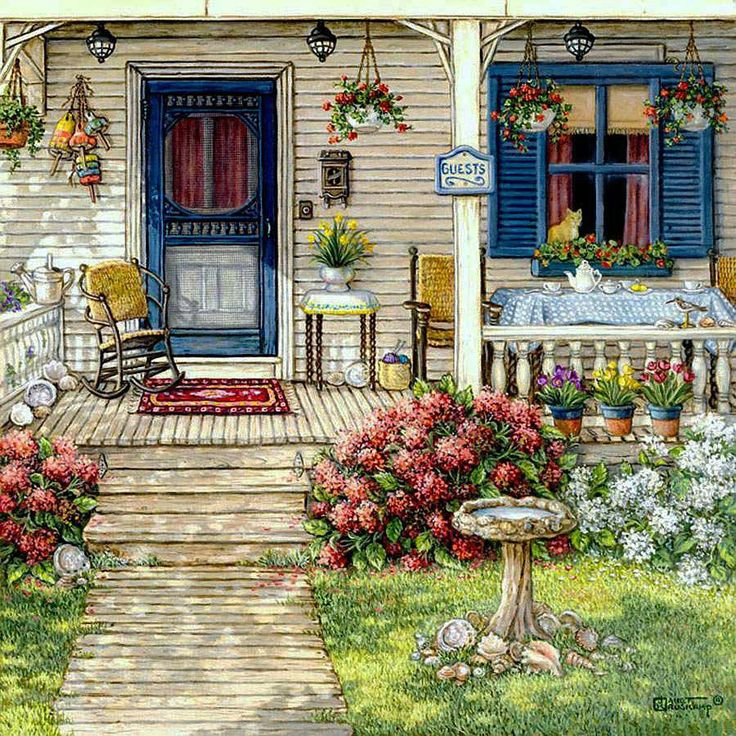 Front Porch in Maine - Counted cross stitch pattern in PDF format by Maxispatterns on Etsy