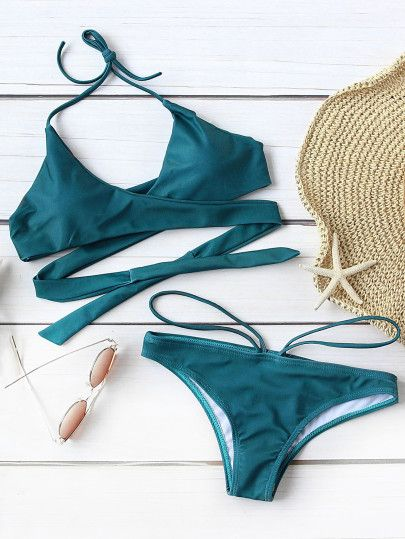 3f84083033 Wrap Cross Halter Top With Strappy Bikini Set | Summer swimsuits ...